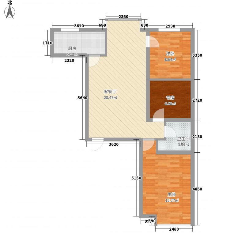 滨河城・左岸户型图L三室两厅一卫95.91 3室2厅1卫1厨