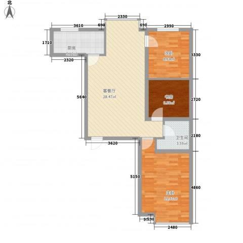 滨河城・左岸3室1厅1卫1厨96.00㎡户型图