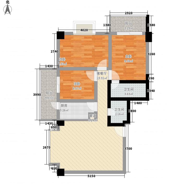 百佳庭院94.98㎡百佳庭院94.98㎡3室1厅2卫1厨户型3室1厅2卫1厨