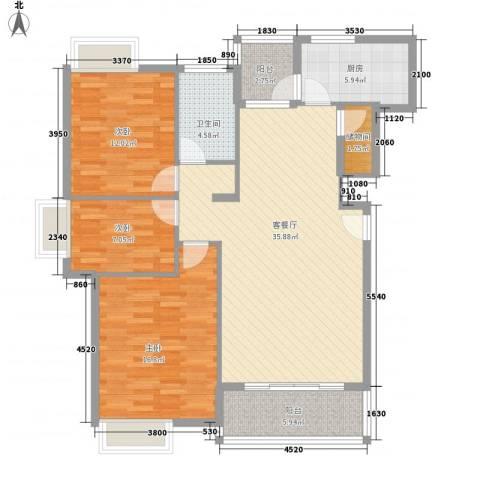 健逸天地二期3室1厅1卫1厨131.00㎡户型图