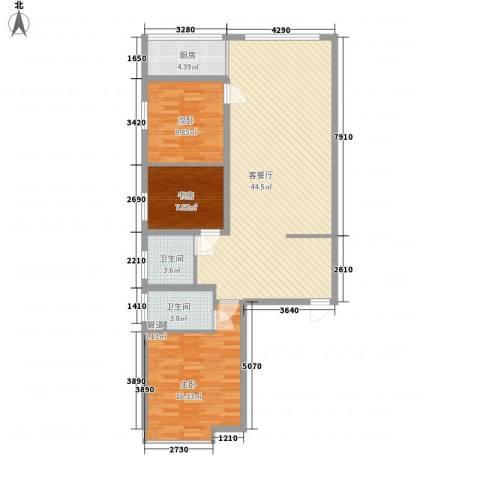 滨河城・左岸3室1厅2卫1厨101.00㎡户型图