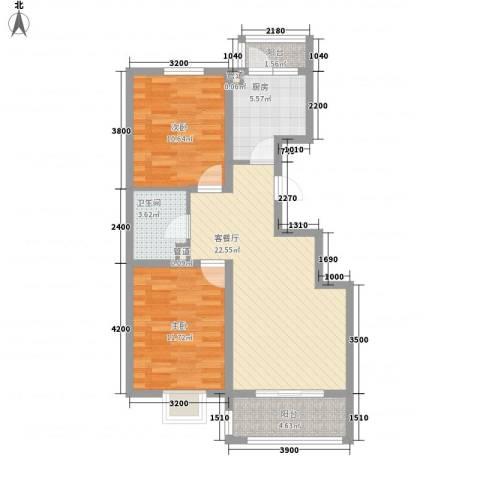 金域名邸2室1厅1卫1厨92.00㎡户型图