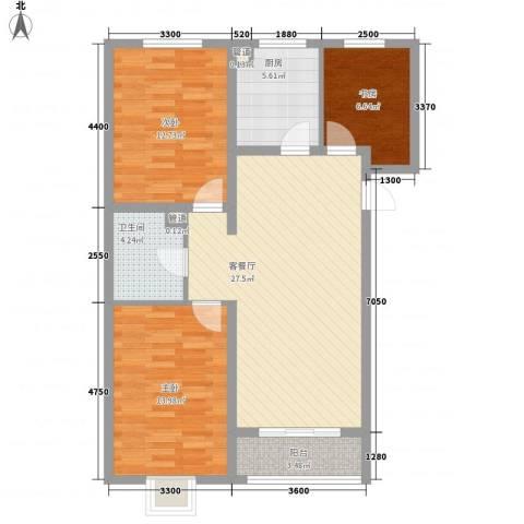 金域名邸3室1厅1卫1厨113.00㎡户型图