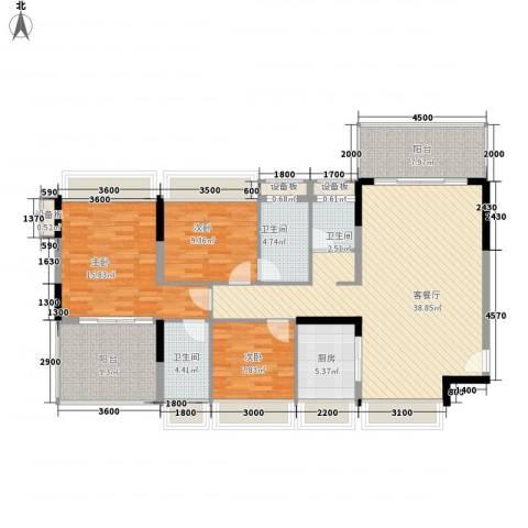 红棉雅苑3室1厅3卫1厨131.00㎡户型图