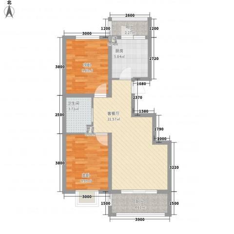 金域名邸2室1厅1卫1厨89.00㎡户型图