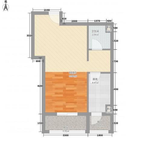 金域名邸1厅1卫1厨58.00㎡户型图