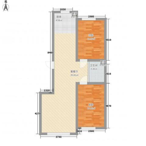 万龙北斗星城2室1厅1卫0厨89.00㎡户型图
