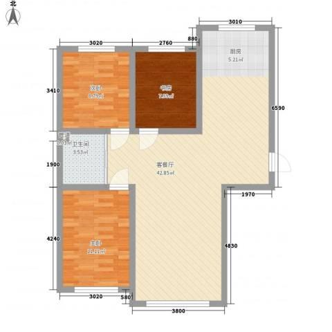 万龙北斗星城3室1厅1卫0厨106.00㎡户型图