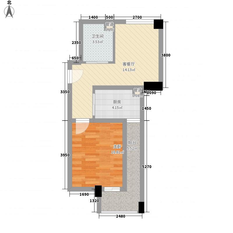 橙堡55.14㎡P型户型1室2厅1卫1厨