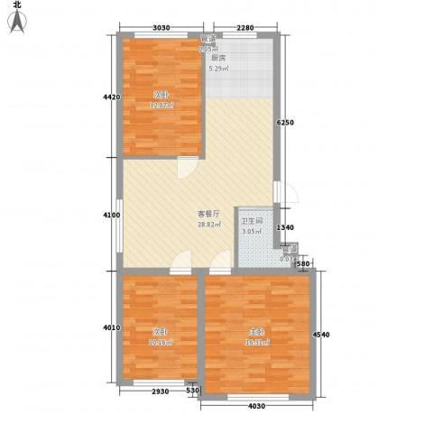 万龙北斗星城3室1厅1卫0厨99.00㎡户型图