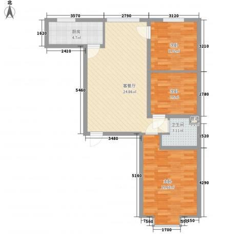 滨河城・左岸3室1厅1卫1厨73.63㎡户型图