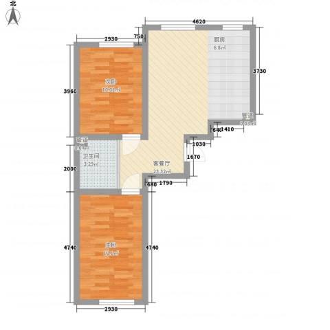 万龙北斗星城2室1厅1卫0厨70.00㎡户型图
