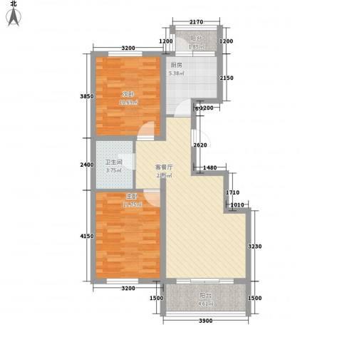 金域名邸2室1厅1卫1厨88.00㎡户型图