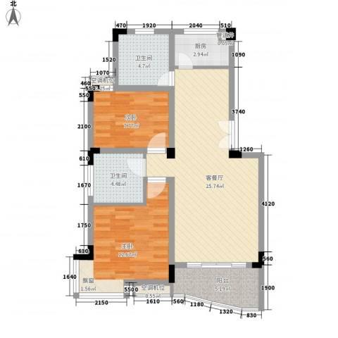 阳光枫情2室1厅2卫1厨94.00㎡户型图