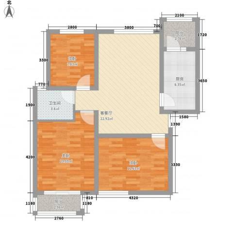 金域名邸3室1厅1卫1厨107.00㎡户型图