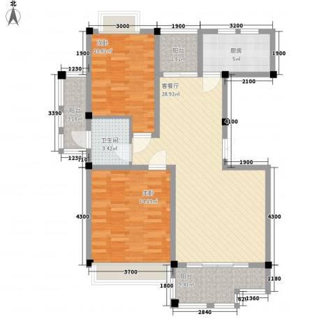 花港小区2室1厅1卫1厨96.00㎡户型图