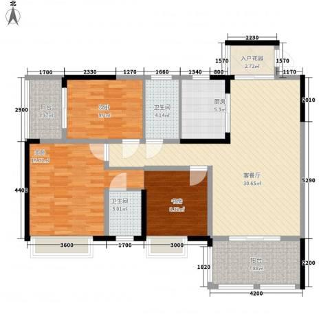 花港小区3室1厅2卫1厨111.00㎡户型图