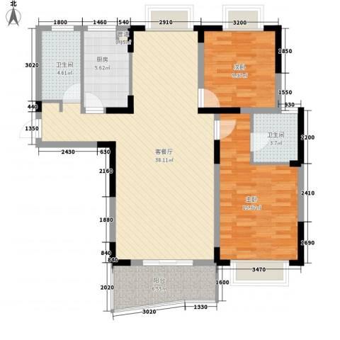 明天世纪广场2室1厅2卫1厨118.00㎡户型图