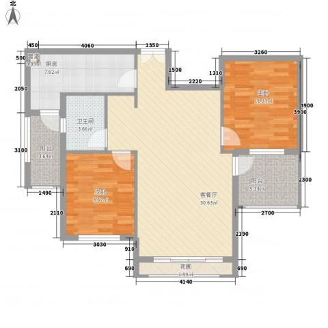 洪客隆地中海阳光2室1厅1卫1厨91.00㎡户型图