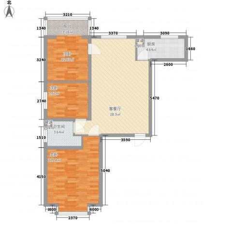 滨河城・左岸3室1厅1卫1厨84.42㎡户型图