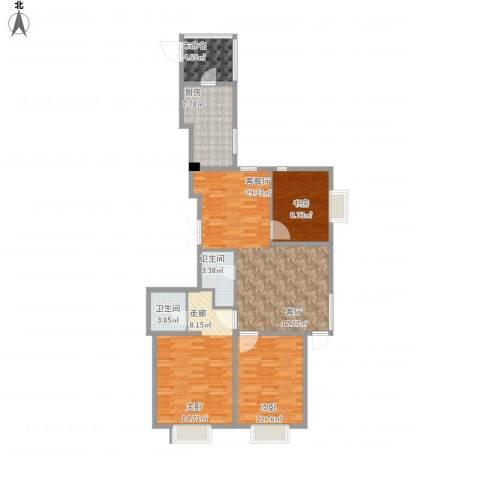 城市玫瑰园2室1厅2卫1厨122.00㎡户型图