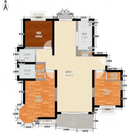琨城帝景园3室1厅2卫1厨147.00㎡户型图