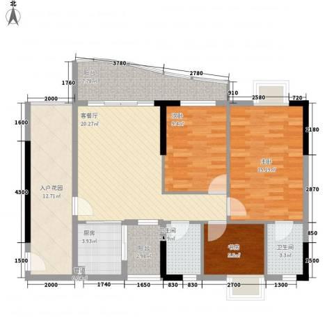 绿杨居3室1厅2卫1厨84.38㎡户型图