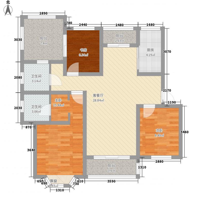 金色威尼斯121.00㎡B5户型3室2厅2卫1厨