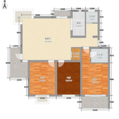 凤凰城3室1厅2卫1厨131.00㎡户型图