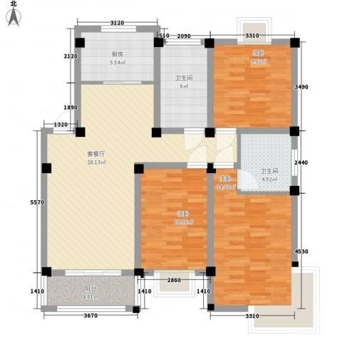 世纪名门3室1厅2卫1厨122.00㎡户型图