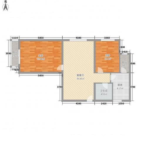 健逸天地二期2室1厅1卫1厨128.00㎡户型图