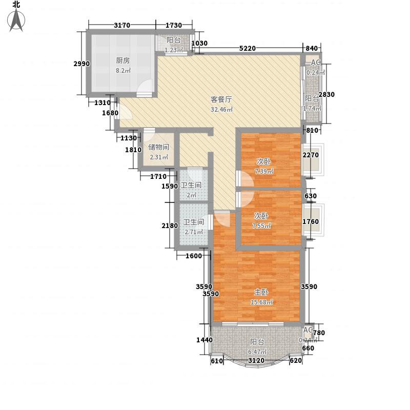 富仁名苑128.23㎡户型3室2厅2卫1厨
