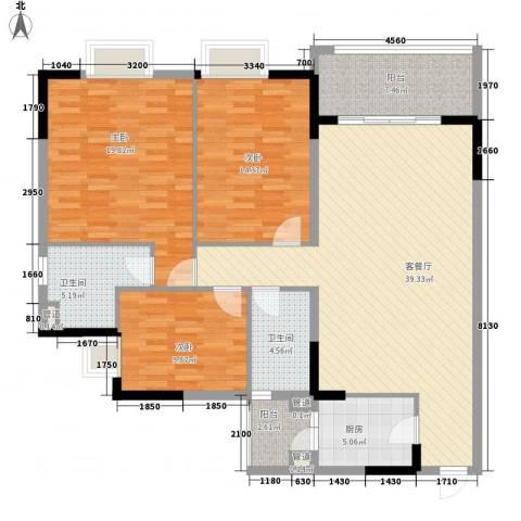 联华花园城三期3室1厅2卫1厨131.00㎡户型图