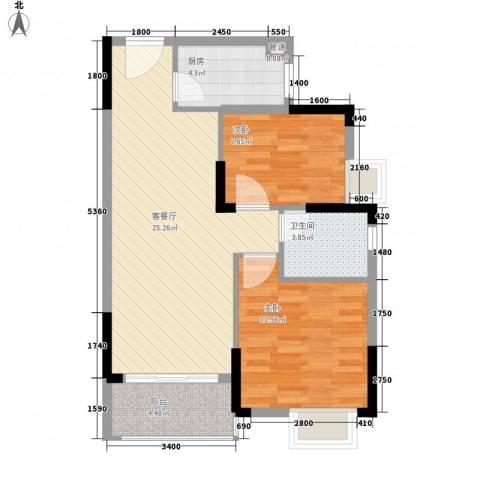 万达西双版纳国际度假区2室1厅1卫1厨74.00㎡户型图