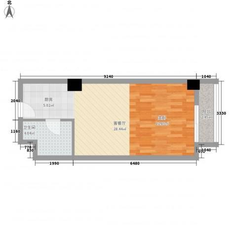 香格里拉1厅1卫0厨50.00㎡户型图