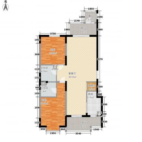 上实盛世江南2室1厅2卫1厨153.00㎡户型图