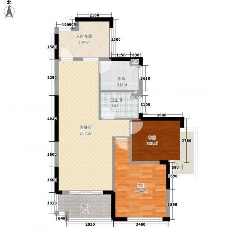 发能太阳海岸2室1厅1卫1厨93.00㎡户型图