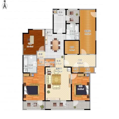 金基尚书里3室1厅2卫1厨178.00㎡户型图