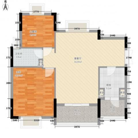 联华花园城三期2室1厅1卫1厨96.00㎡户型图