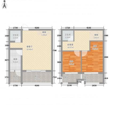 香格里拉2室1厅2卫1厨110.00㎡户型图