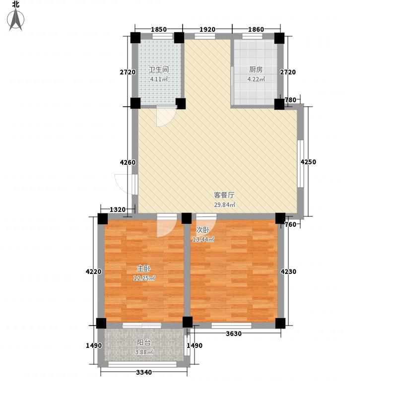 海阔御景湾88.58㎡D1-D户型2室2厅1卫1厨