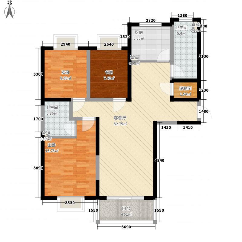 西郊美德苑120.00㎡C户型3室2厅1卫1厨