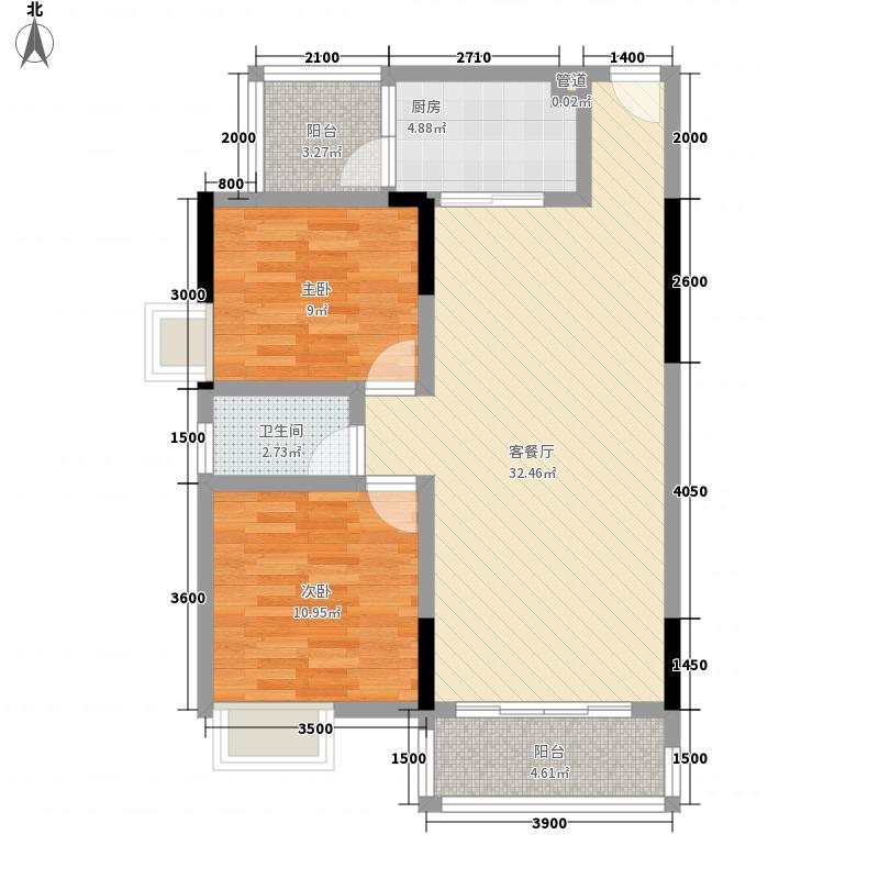 御林湾87.13㎡D户型2室2厅1卫1厨