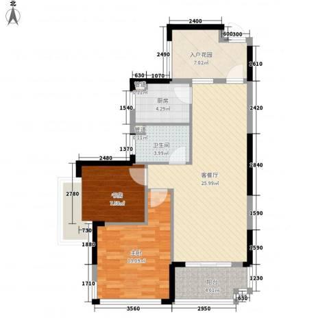 发能太阳海岸2室1厅1卫1厨95.00㎡户型图
