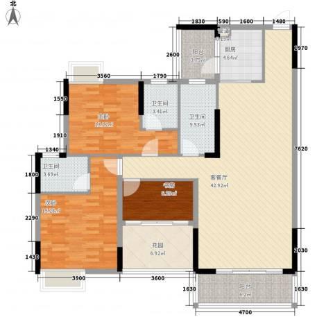 乐雅苑3室1厅3卫1厨135.00㎡户型图