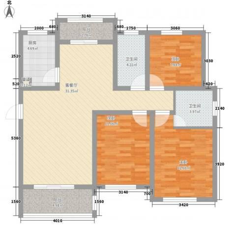海上印象花园3室1厅2卫1厨122.00㎡户型图