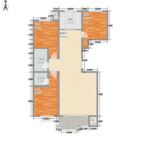 华地榆林苑3室1厅2卫1厨134.00㎡户型图