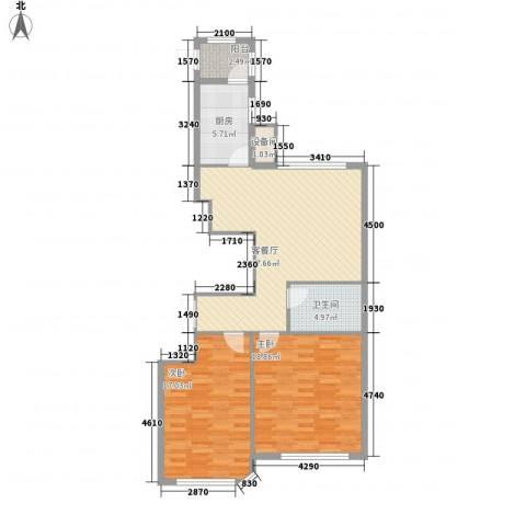 滨海假日2室1厅1卫1厨108.00㎡户型图