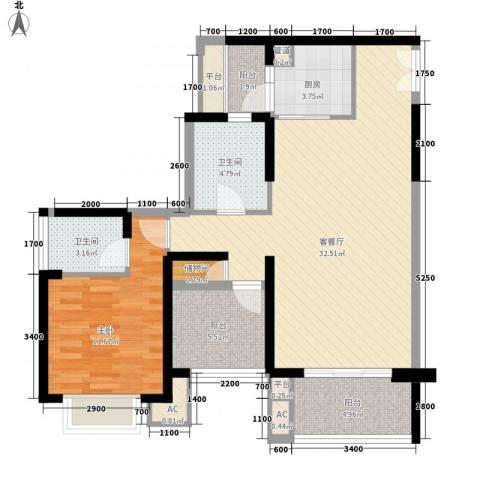 星河・丹堤1室1厅2卫1厨105.00㎡户型图