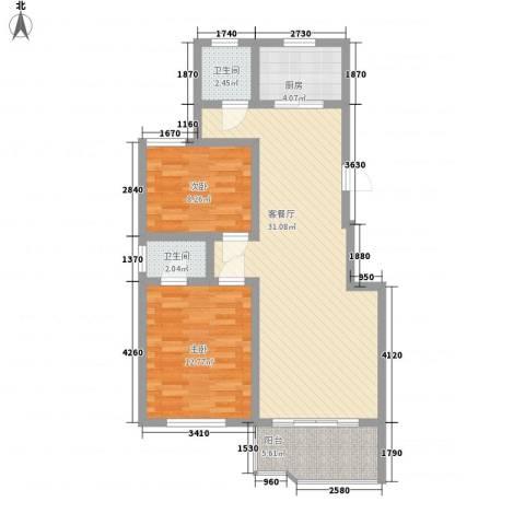 2008新长江广场2室1厅2卫1厨90.00㎡户型图